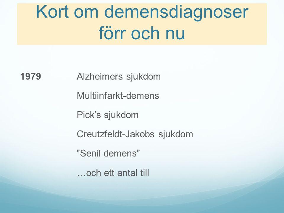 """Kort om demensdiagnoser förr och nu 1979Alzheimers sjukdom Multiinfarkt-demens Pick's sjukdom Creutzfeldt-Jakobs sjukdom """"Senil demens"""" …och ett antal"""