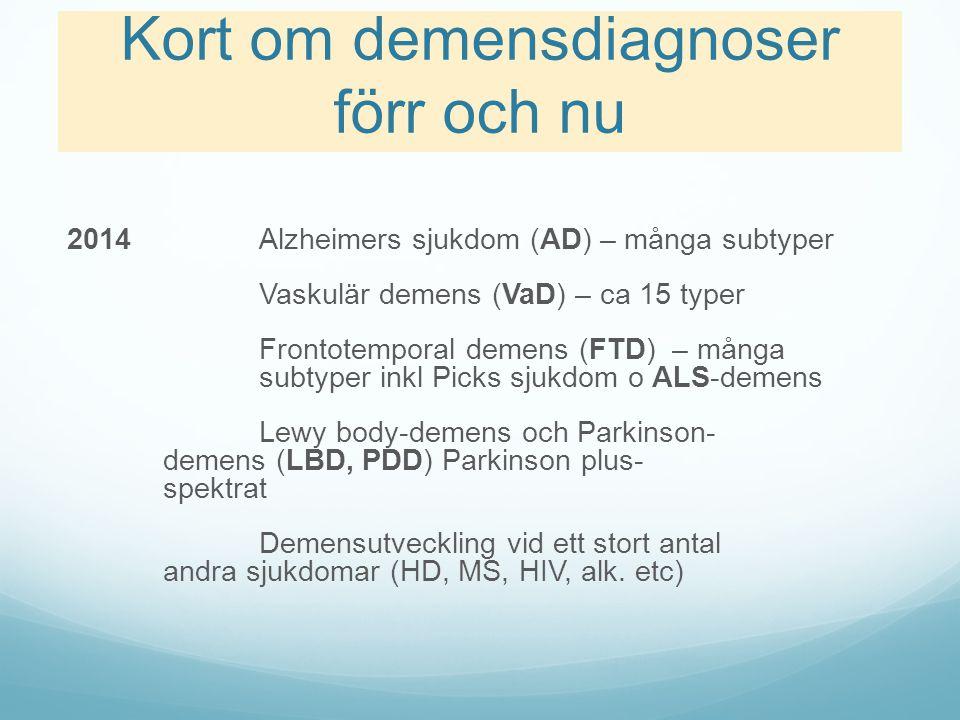 Kort om demensdiagnoser förr och nu 2014Alzheimers sjukdom (AD) – många subtyper Vaskulär demens (VaD) – ca 15 typer Frontotemporal demens (FTD) – mån