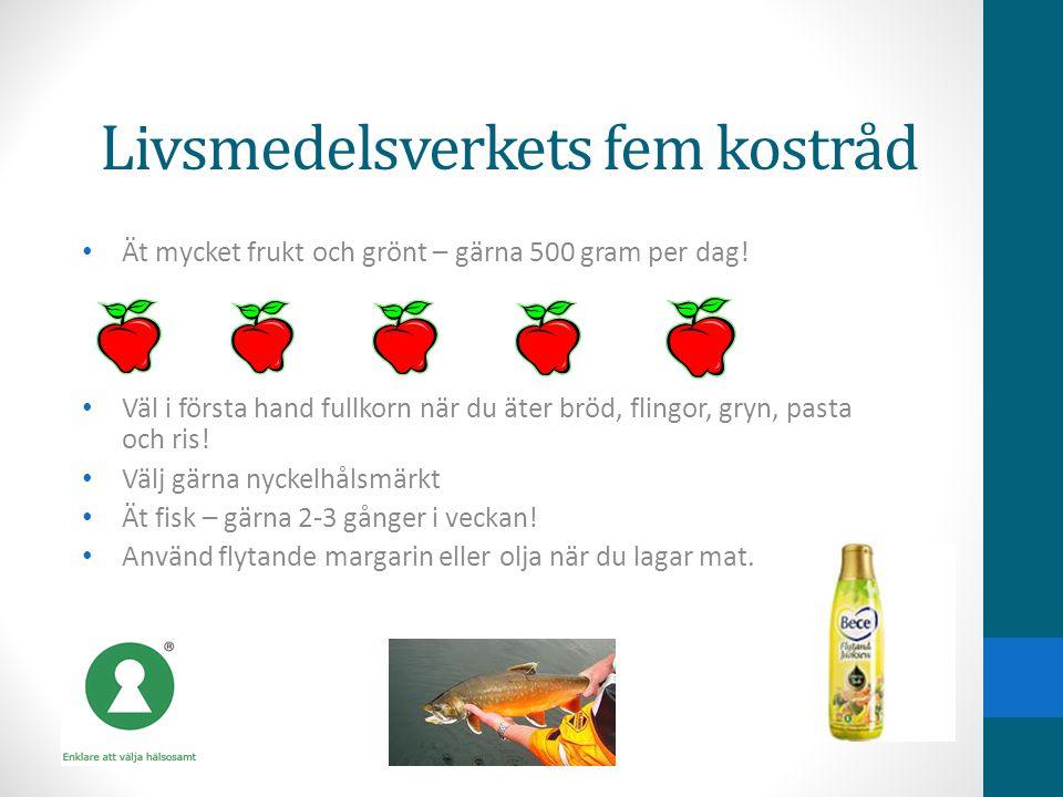 Livsmedelsverkets fem kostråd • Ät mycket frukt och grönt – gärna 500 gram per dag! • Väl i första hand fullkorn när du äter bröd, flingor, gryn, past
