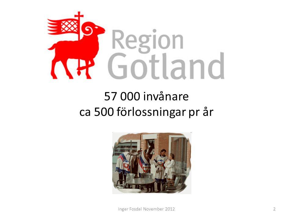 57 000 invånare ca 500 förlossningar pr år 2Inger Fosdal November 2012