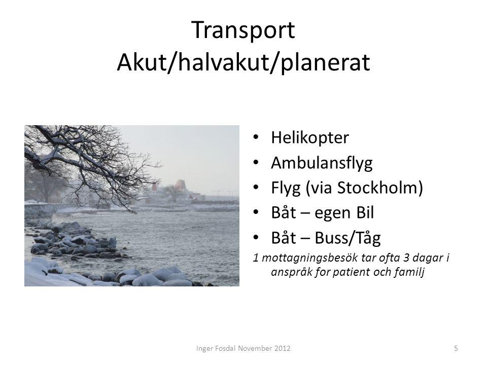 Transport Akut/halvakut/planerat • Helikopter • Ambulansflyg • Flyg (via Stockholm) • Båt – egen Bil • Båt – Buss/Tåg 1 mottagningsbesök tar ofta 3 da