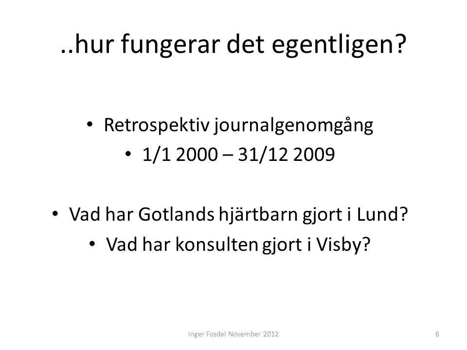 ..hur fungerar det egentligen? • Retrospektiv journalgenomgång • 1/1 2000 – 31/12 2009 • Vad har Gotlands hjärtbarn gjort i Lund? • Vad har konsulten