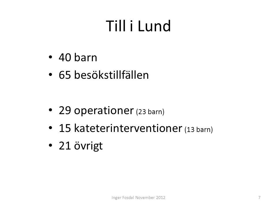 Till i Lund • 40 barn • 65 besökstillfällen • 29 operationer (23 barn) • 15 kateterinterventioner (13 barn) • 21 övrigt 7Inger Fosdal November 2012