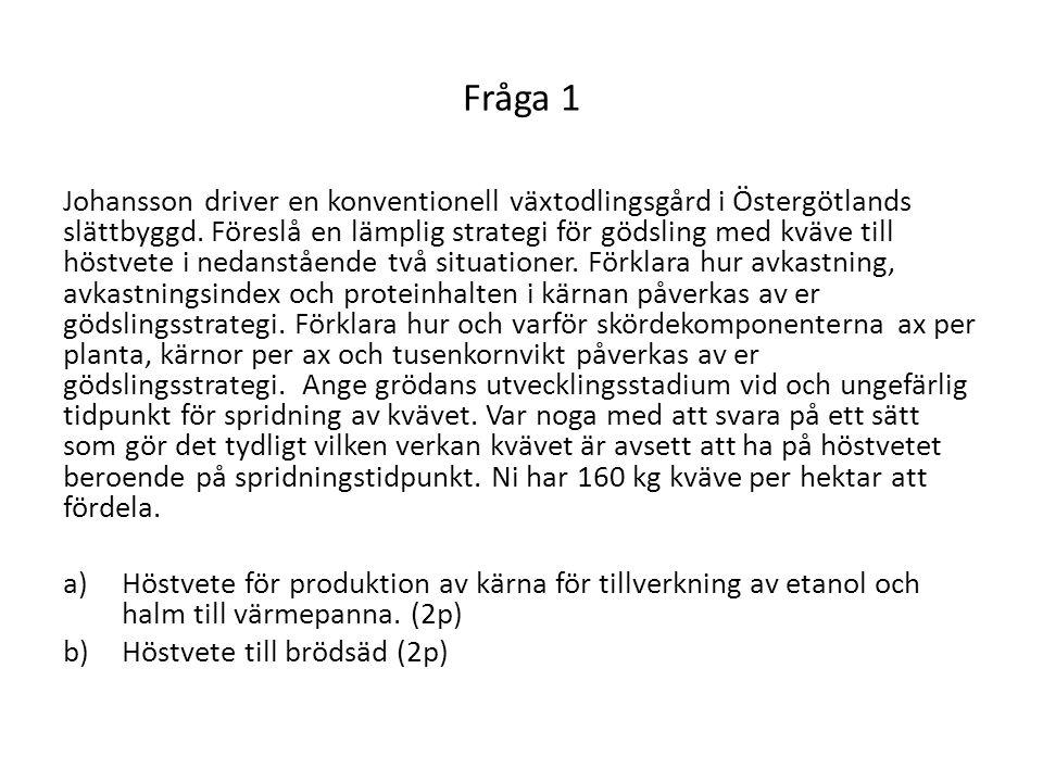 Fråga 1 Johansson driver en konventionell växtodlingsgård i Östergötlands slättbyggd. Föreslå en lämplig strategi för gödsling med kväve till höstvete