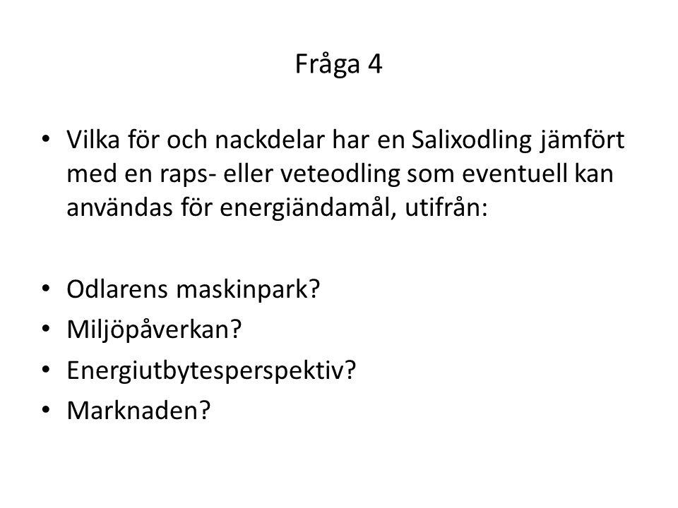 Fråga 4 • Vilka för och nackdelar har en Salixodling jämfört med en raps- eller veteodling som eventuell kan användas för energiändamål, utifrån: • Od