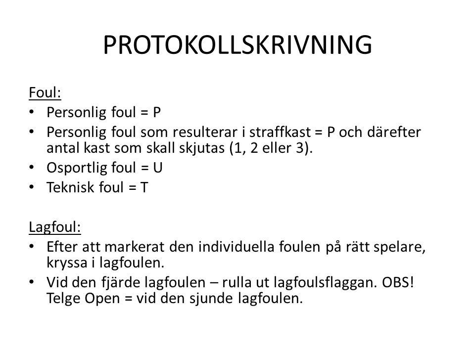 PROTOKOLLSKRIVNING Foul: • Personlig foul = P • Personlig foul som resulterar i straffkast = P och därefter antal kast som skall skjutas (1, 2 eller 3