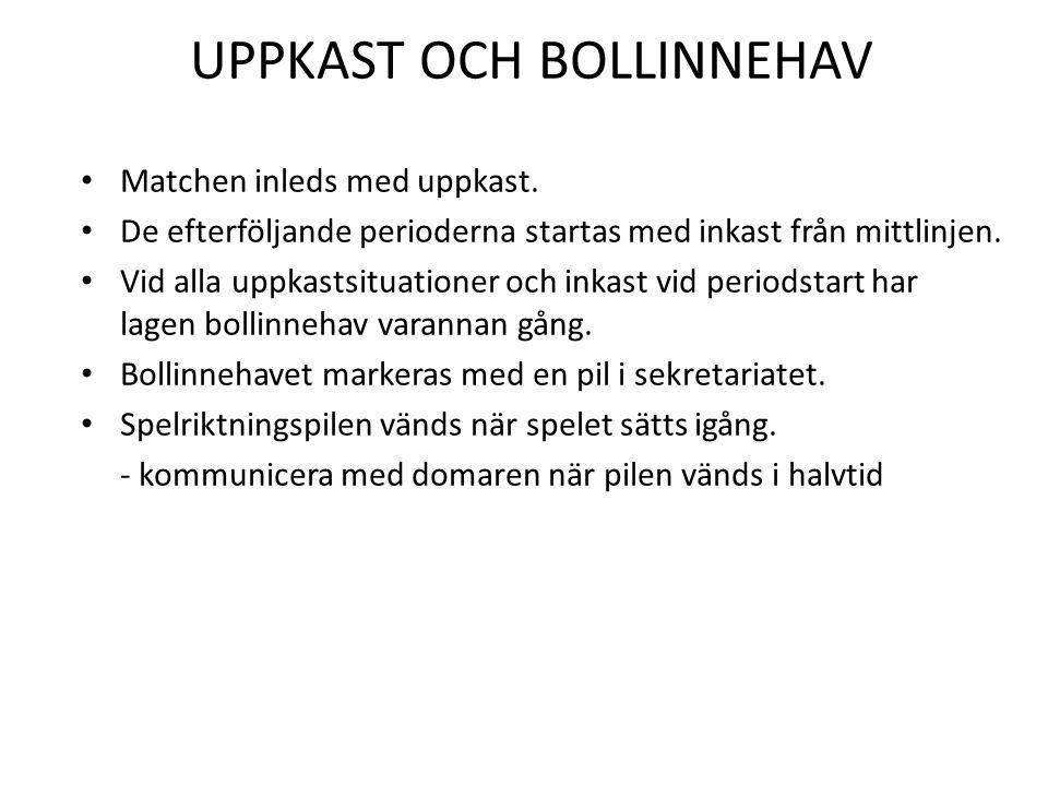 UPPKAST OCH BOLLINNEHAV • Matchen inleds med uppkast. • De efterföljande perioderna startas med inkast från mittlinjen. • Vid alla uppkastsituationer