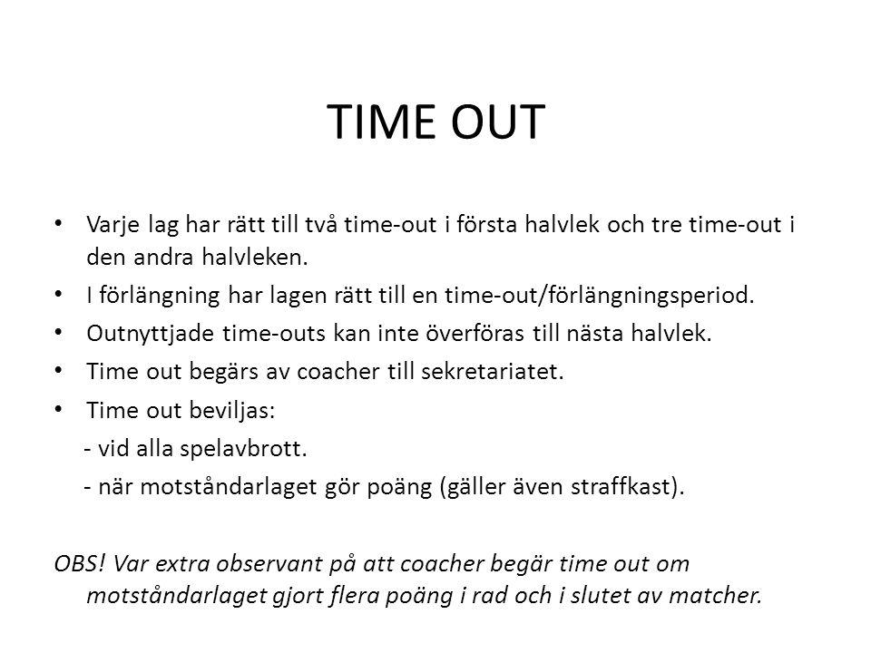 TIME OUT • Varje lag har rätt till två time-out i första halvlek och tre time-out i den andra halvleken. • I förlängning har lagen rätt till en time-o