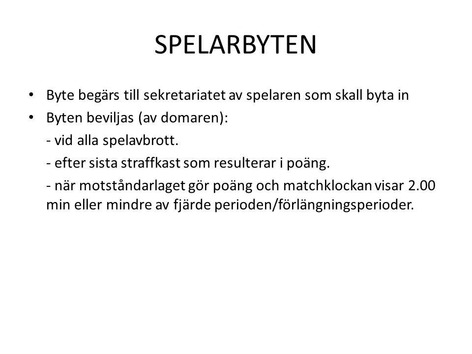 SPELARBYTEN • Byte begärs till sekretariatet av spelaren som skall byta in • Byten beviljas (av domaren): - vid alla spelavbrott. - efter sista straff