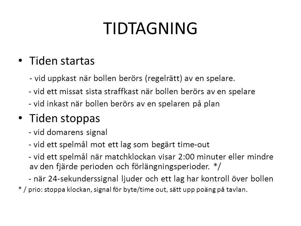TIDTAGNING • Tiden startas - vid uppkast när bollen berörs (regelrätt) av en spelare. - vid ett missat sista straffkast när bollen berörs av en spelar