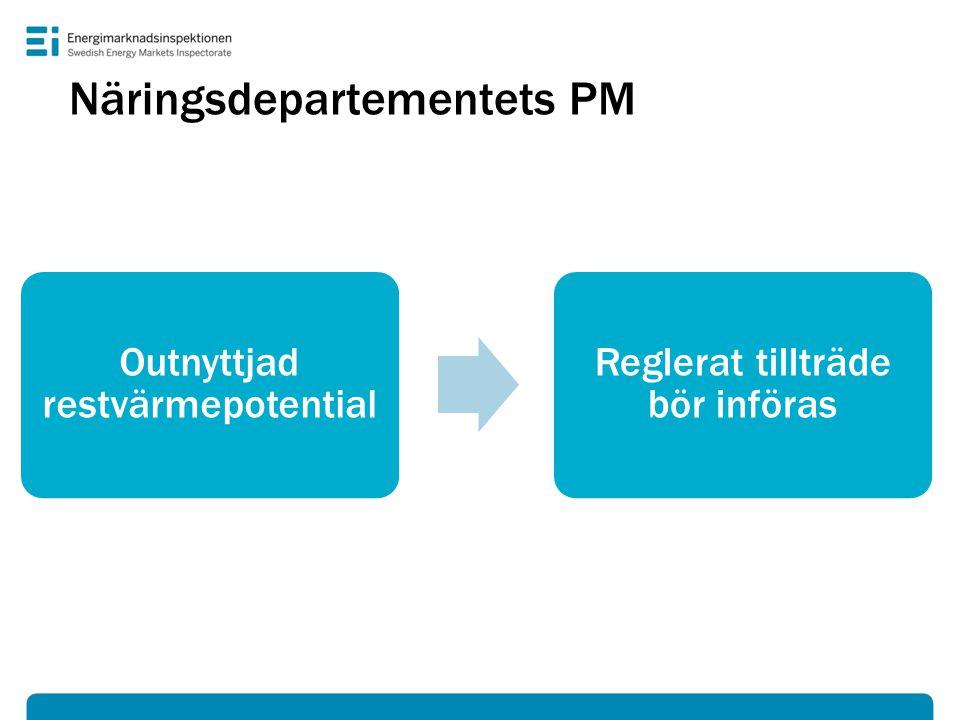 Näringsdepartementets PM Outnyttjad restvärmepotential Reglerat tillträde bör införas