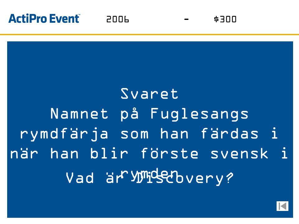 Svaret Gruppen som vann sitt lands första Eurovision Song Contest i Aten Vilka är Lordi? 2006-$200