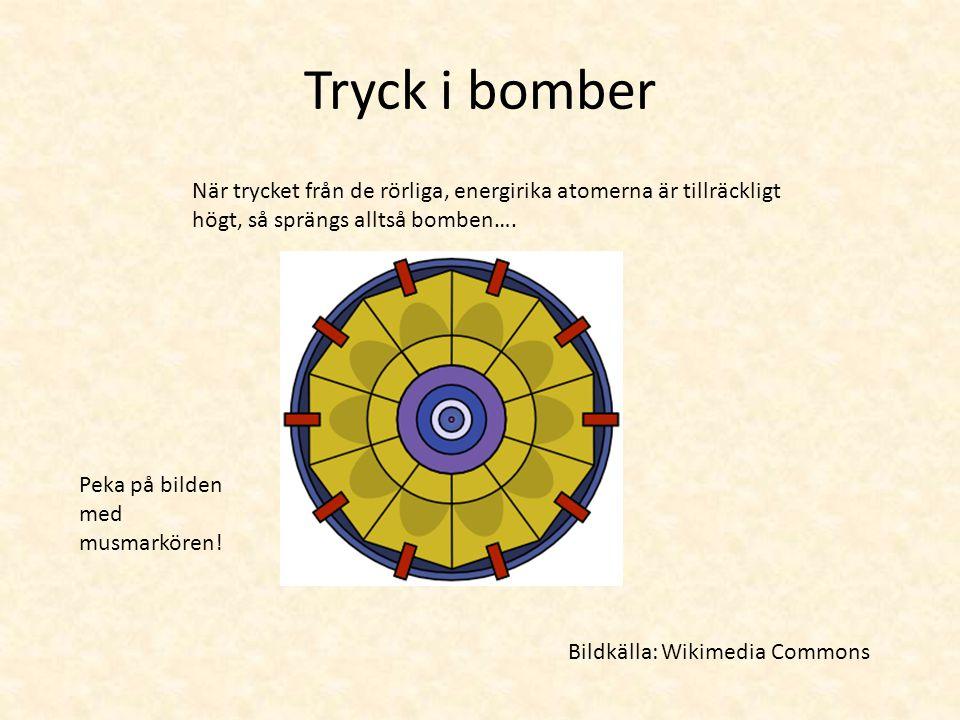 Tryck i bomber Ljudet uppstår när luftens atomer och molekyler trycks åt sidan.