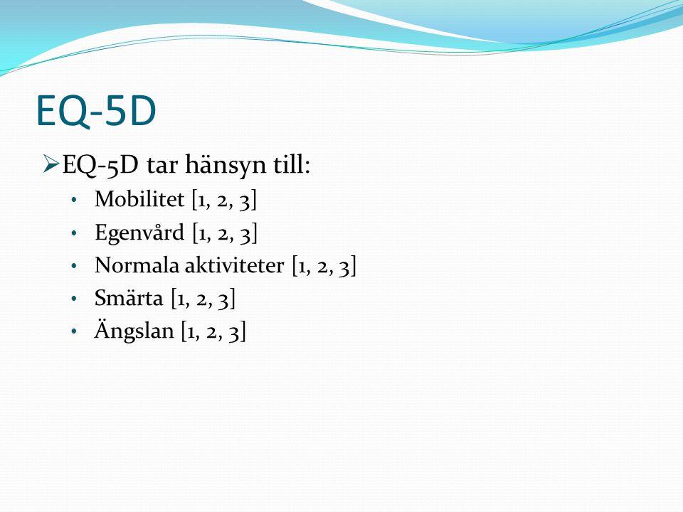  EQ-5D tar hänsyn till: • Mobilitet [1, 2, 3] • Egenvård [1, 2, 3] • Normala aktiviteter [1, 2, 3] • Smärta [1, 2, 3] • Ängslan [1, 2, 3] EQ-5D