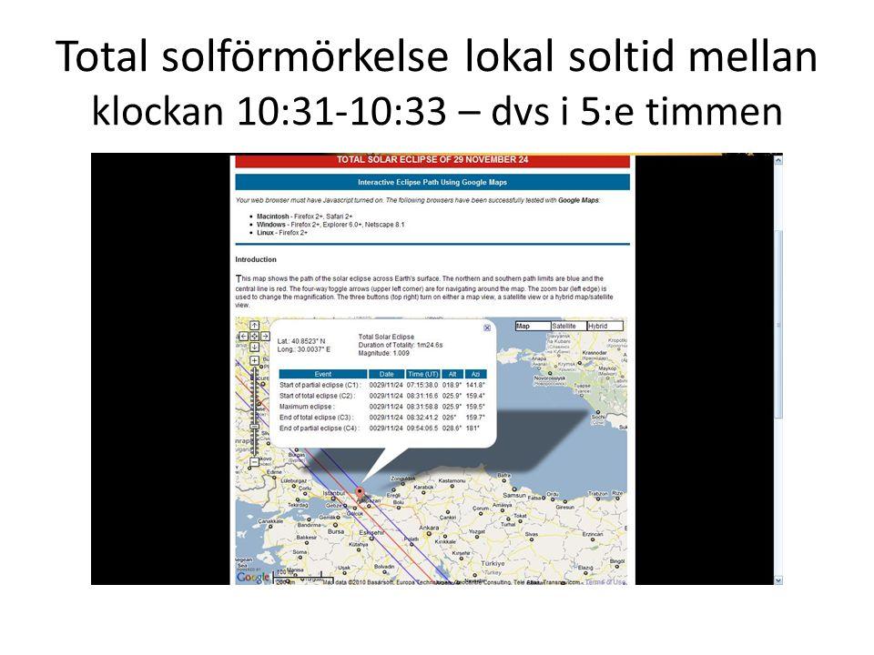 Total solförmörkelse lokal soltid mellan klockan 10:31-10:33 – dvs i 5:e timmen