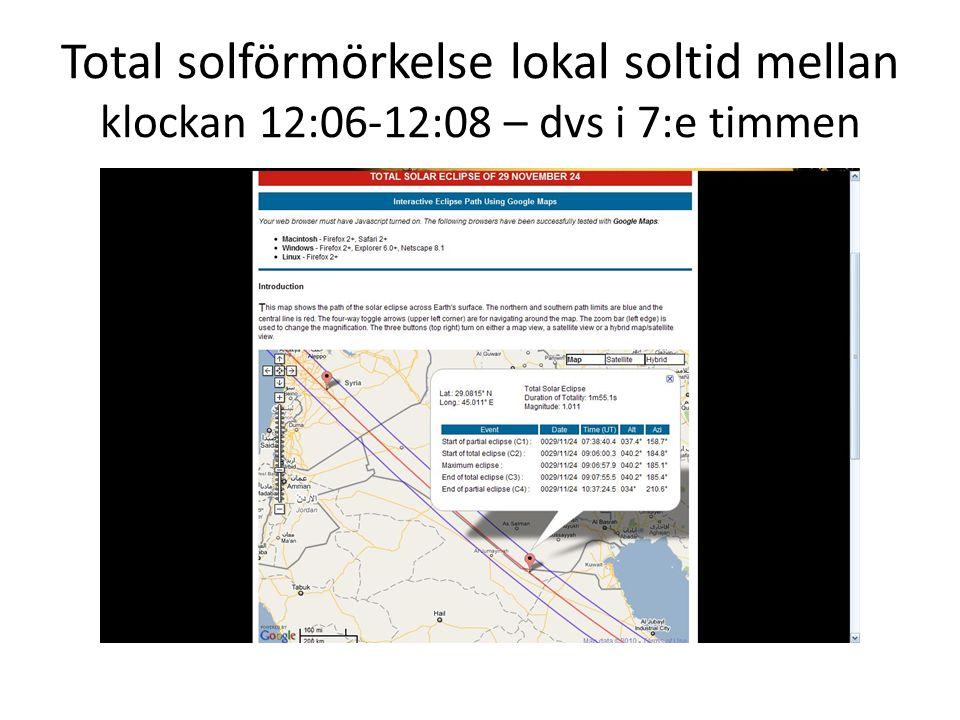 Total solförmörkelse lokal soltid mellan klockan 12:06-12:08 – dvs i 7:e timmen