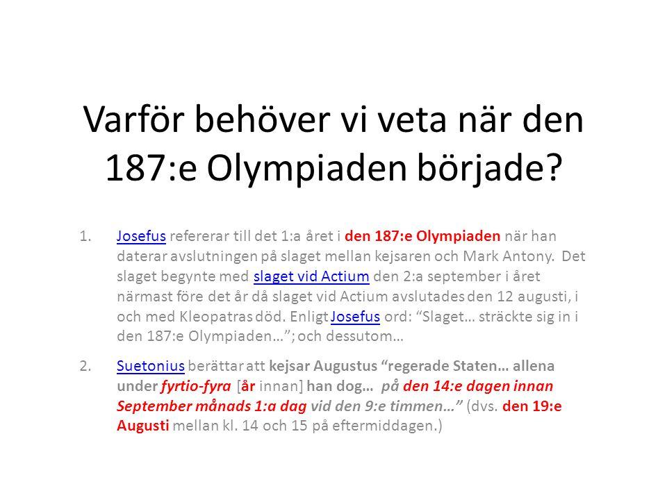 Varför behöver vi veta när den 187:e Olympiaden började.