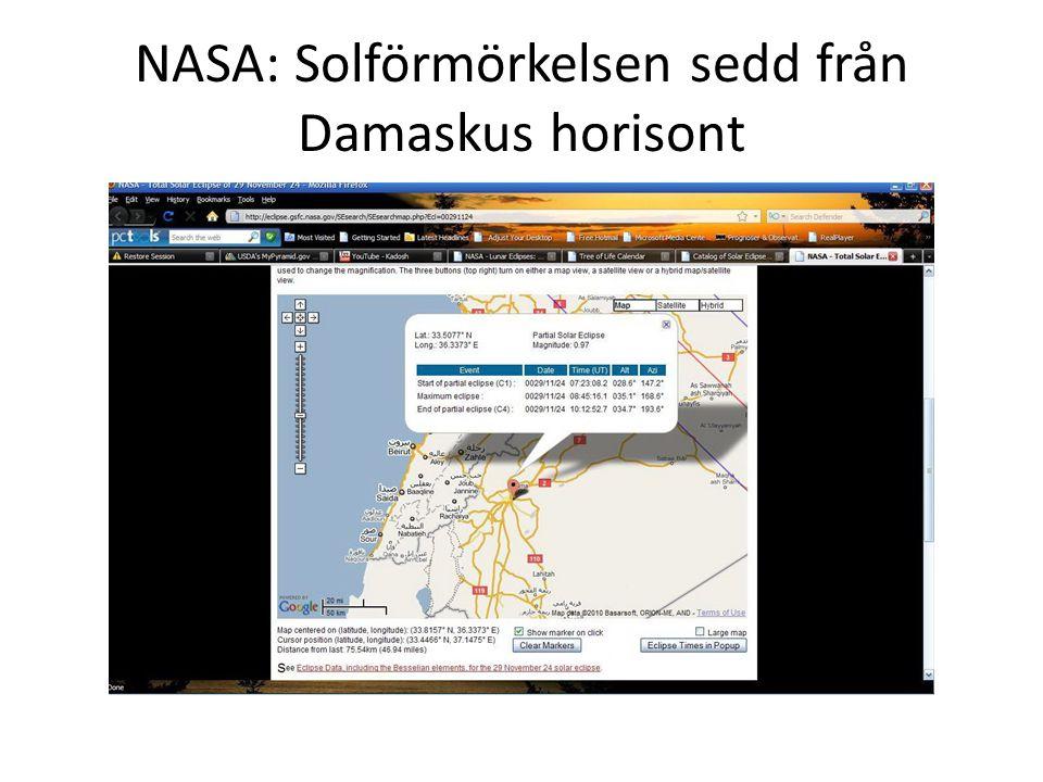 NASA: Solförmörkelsen sedd från Damaskus horisont