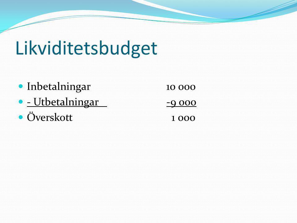 Likviditetsbudget  Inbetalningar10 000  - Utbetalningar-9 000  Överskott 1 000