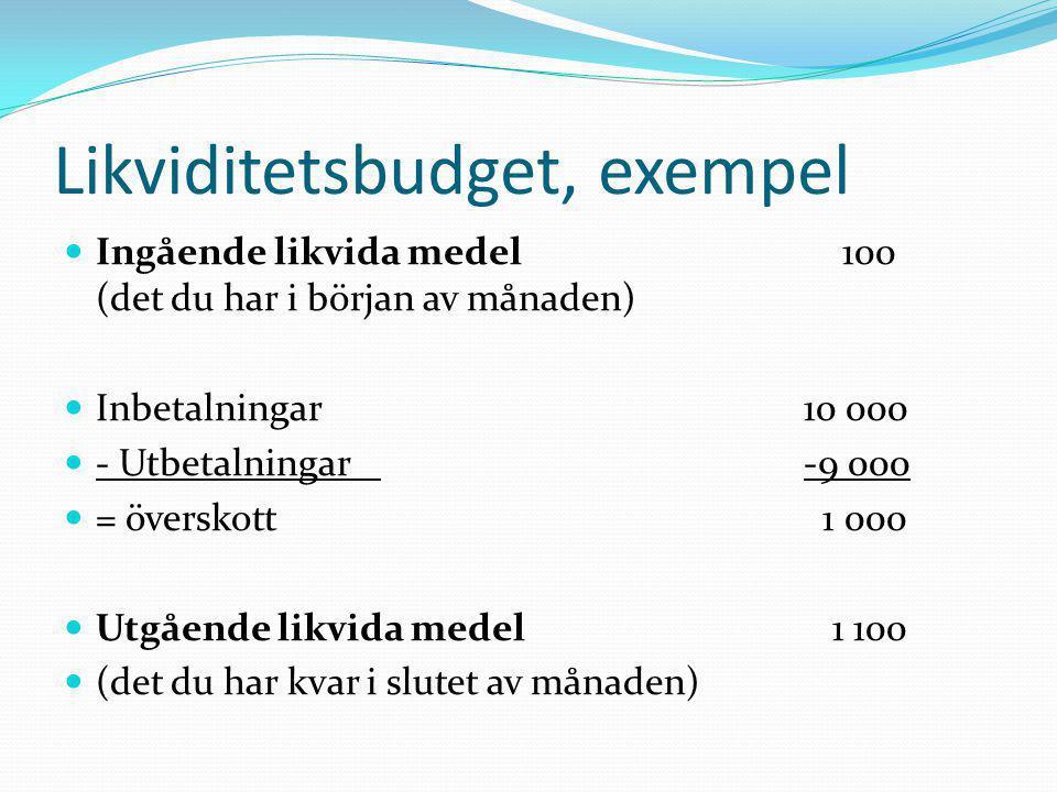 Likviditetsbudget, exempel  Ingående likvida medel 100 (det du har i början av månaden)  Inbetalningar10 000  - Utbetalningar-9 000  = överskott 1
