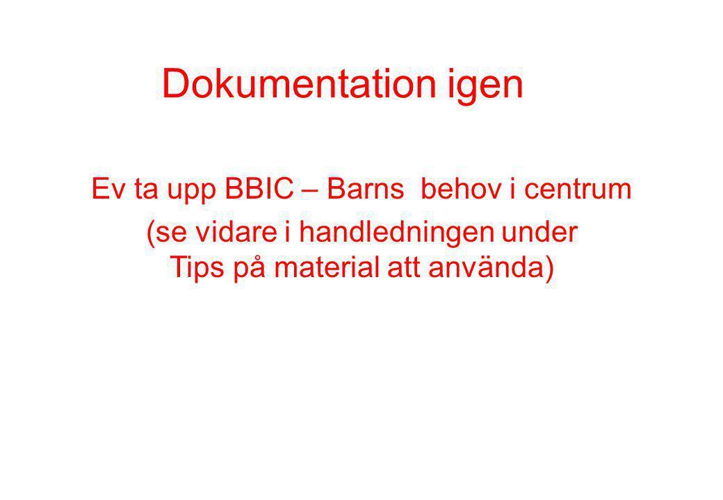 Dokumentation igen Ev ta upp BBIC – Barns behov i centrum (se vidare i handledningen under Tips på material att använda)