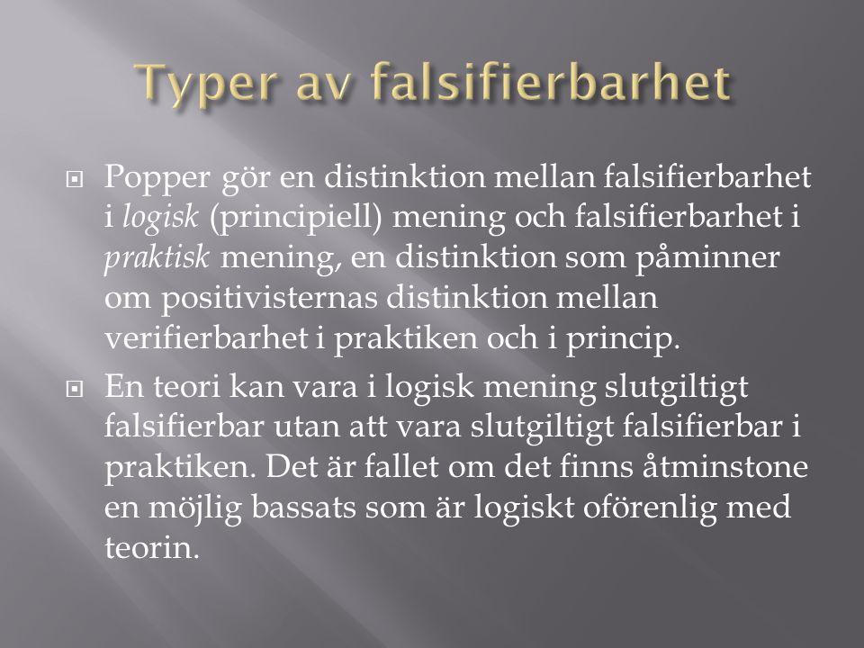  Popper gör en distinktion mellan falsifierbarhet i logisk (principiell) mening och falsifierbarhet i praktisk mening, en distinktion som påminner om