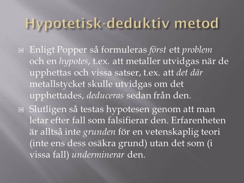  Enligt Popper så formuleras först ett problem och en hypotes, t.ex. att metaller utvidgas när de upphettas och vissa satser, t.ex. att det där metal