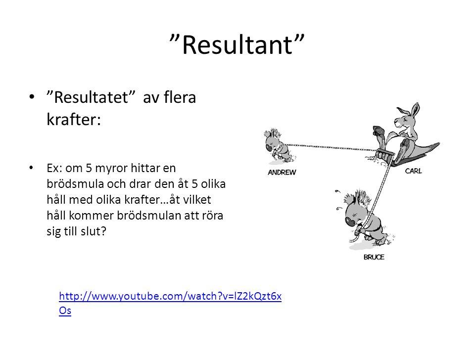 """""""Resultant"""" • """"Resultatet"""" av flera krafter: • Ex: om 5 myror hittar en brödsmula och drar den åt 5 olika håll med olika krafter…åt vilket håll kommer"""