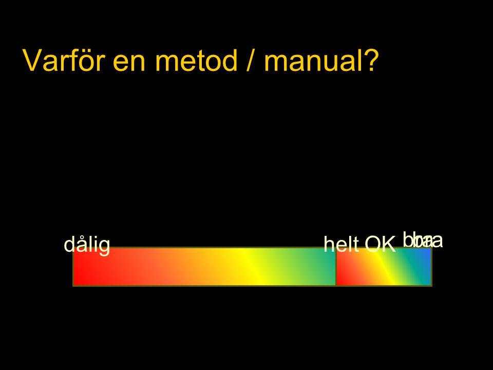 Varför en metod / manual? dålig bra helt OK bra