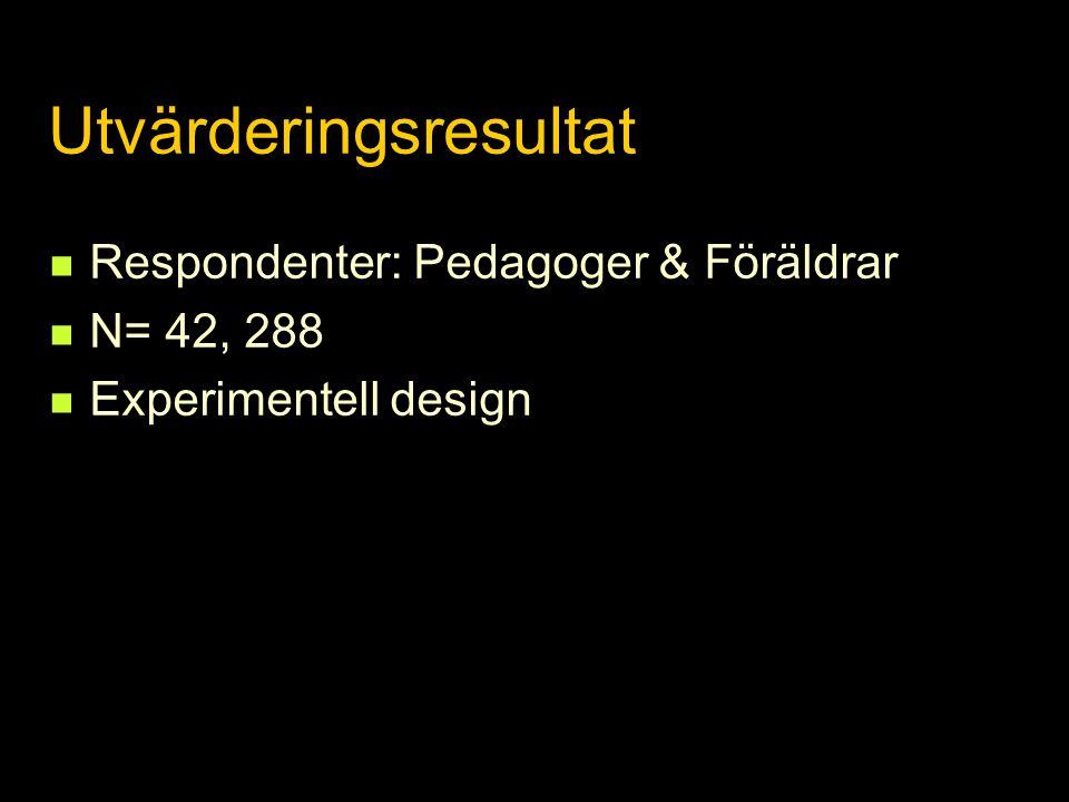 Utvärderingsresultat  Respondenter: Pedagoger & Föräldrar  N= 42, 288  Experimentell design