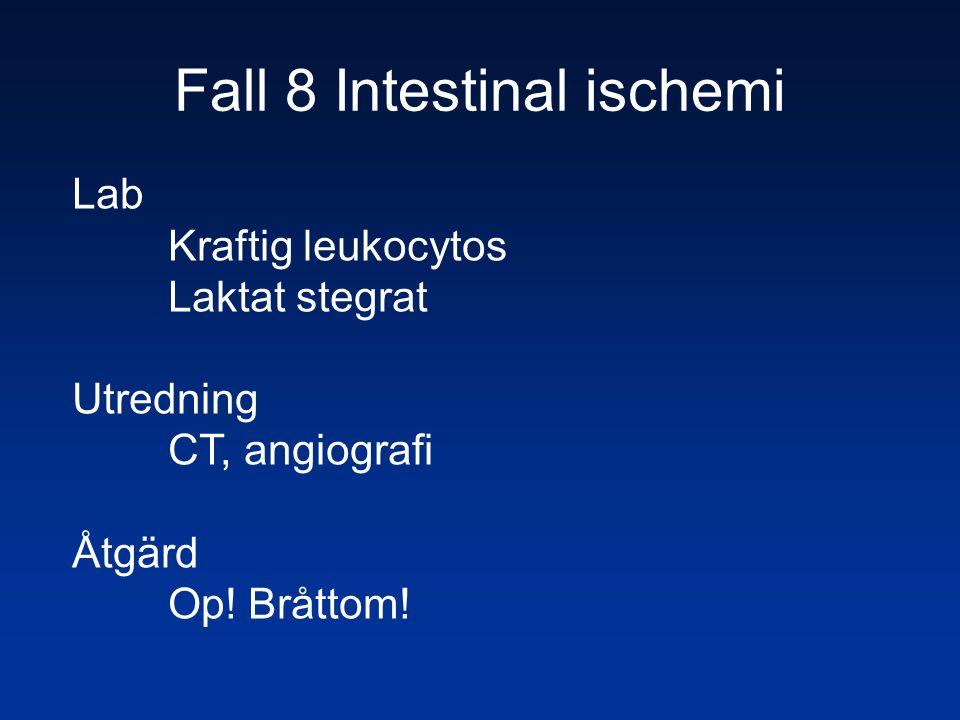 Fall 8 Intestinal ischemi Lab Kraftig leukocytos Laktat stegrat Utredning CT, angiografi Åtgärd Op! Bråttom!