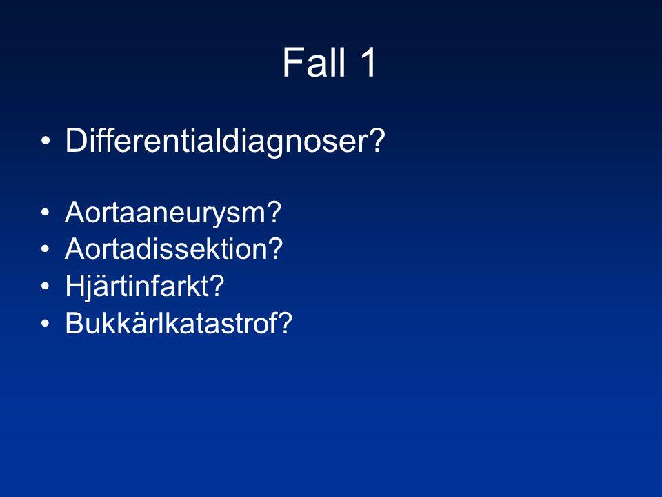 Fall 1 •Differentialdiagnoser? •Aortaaneurysm? •Aortadissektion? •Hjärtinfarkt? •Bukkärlkatastrof?