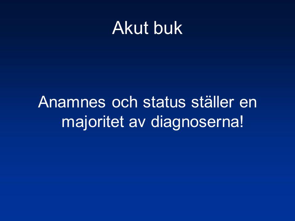 Akut buk Anamnes och status ställer en majoritet av diagnoserna!