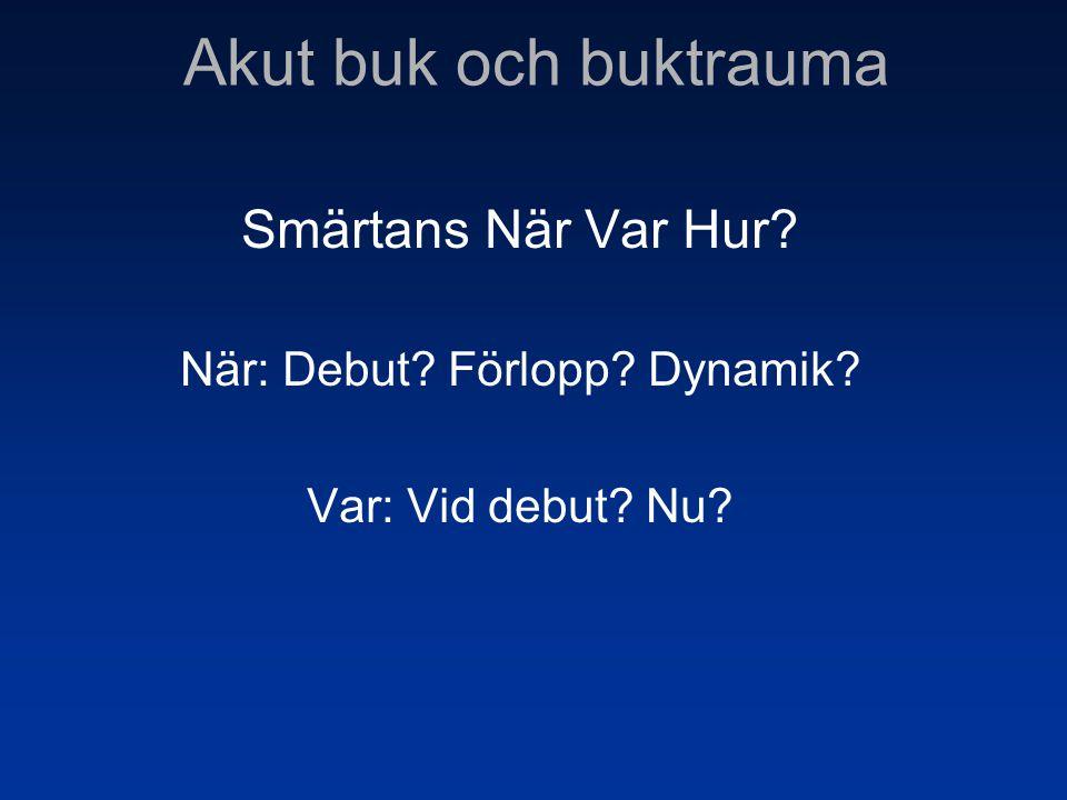 Smärtans När Var Hur? När: Debut? Förlopp? Dynamik? Var: Vid debut? Nu?
