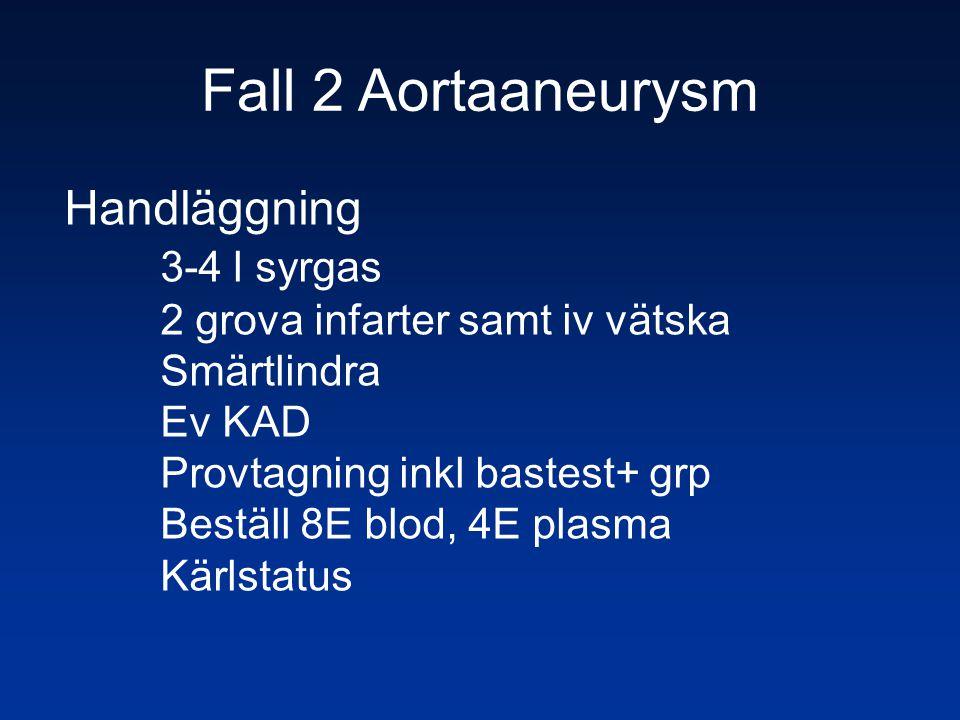 Fall 2 Aortaaneurysm Handläggning 3-4 l syrgas 2 grova infarter samt iv vätska Smärtlindra Ev KAD Provtagning inkl bastest+ grp Beställ 8E blod, 4E pl