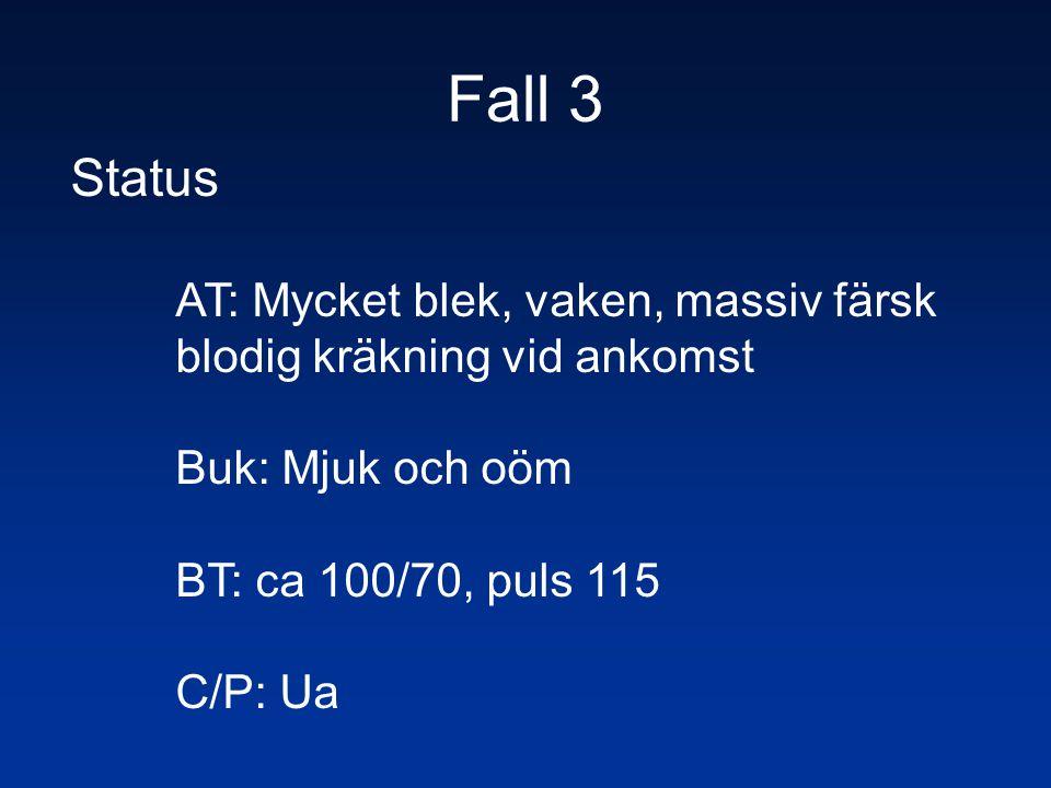Fall 3 Status AT: Mycket blek, vaken, massiv färsk blodig kräkning vid ankomst Buk: Mjuk och oöm BT: ca 100/70, puls 115 C/P: Ua
