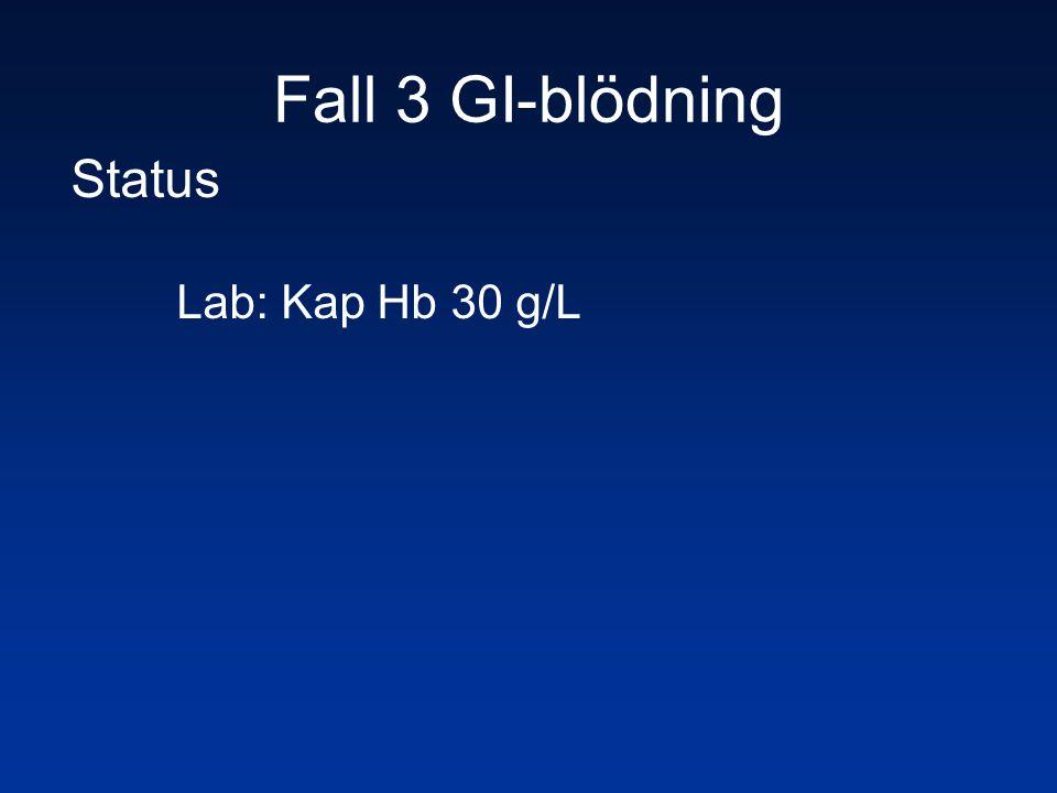 Fall 3 GI-blödning Status Lab: Kap Hb 30 g/L