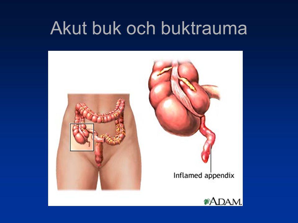 Fall 6 Ileus Symtom Intervallsmärtor Illamående Kräkningar Upphävd gas- och faecesavgång Symtombilden beror på lokalisationen för hindret!