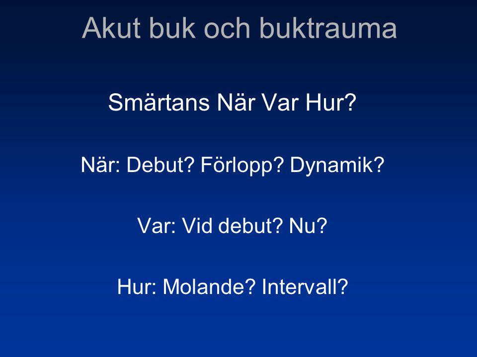 Smärtans När Var Hur? När: Debut? Förlopp? Dynamik? Var: Vid debut? Nu? Hur: Molande? Intervall?