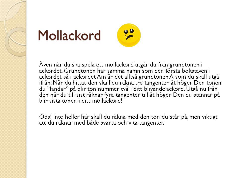 Mollackord Även när du ska spela ett mollackord utgår du från grundtonen i ackordet.