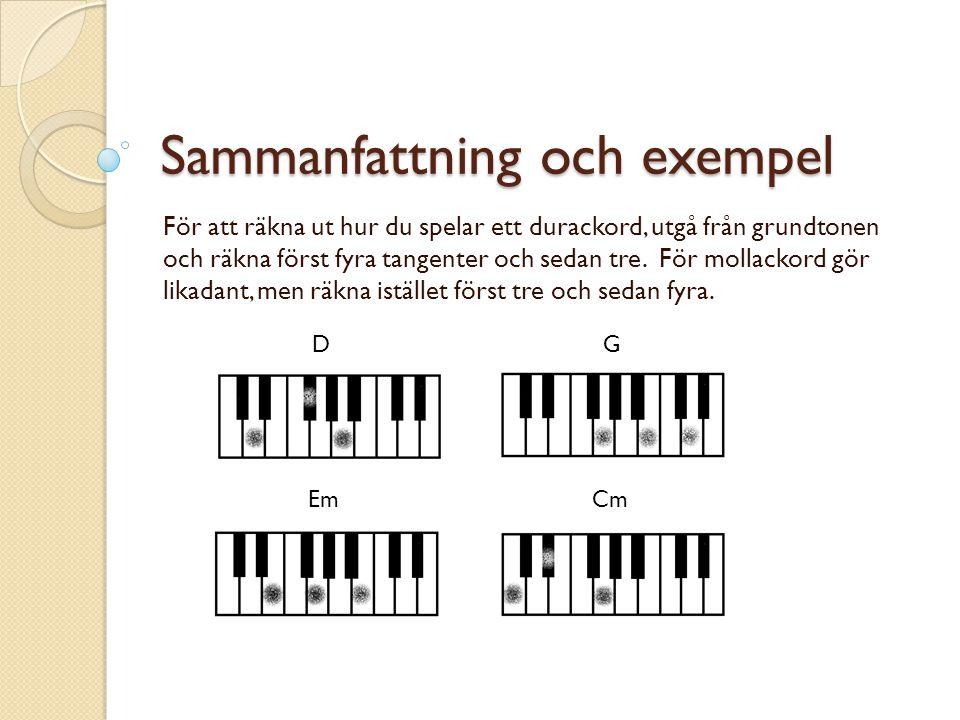 Sammanfattning och exempel För att räkna ut hur du spelar ett durackord, utgå från grundtonen och räkna först fyra tangenter och sedan tre.