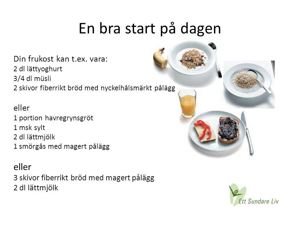 En bra start på dagen Din frukost kan t.ex. vara: 2 dl lättyoghurt 3/4 dl müsli 2 skivor fiberrikt bröd med nyckelhålsmärkt pålägg eller 1 portion hav