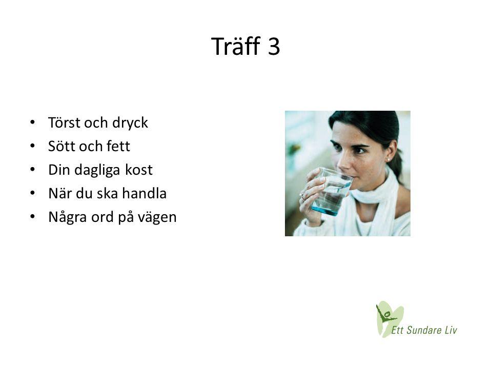 Träff 3 • Törst och dryck • Sött och fett • Din dagliga kost • När du ska handla • Några ord på vägen