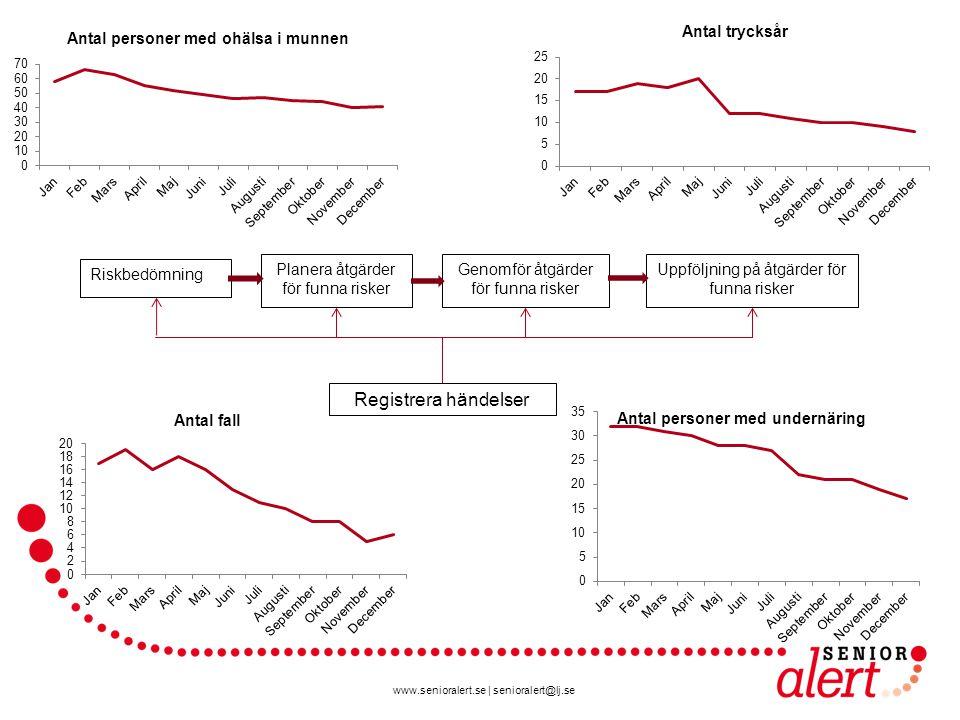 www.senioralert.se | senioralert@lj.se Riskbedömning Planera åtgärder för funna risker Genomför åtgärder för funna risker Uppföljning på åtgärder för funna risker Registrera händelser