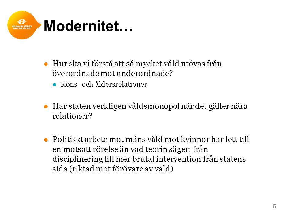 Modernitet… ●Hur ska vi förstå att så mycket våld utövas från överordnade mot underordnade.