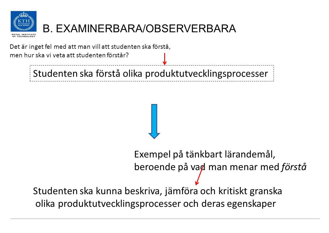 B. EXAMINERBARA/OBSERVERBARA Studenten ska förstå olika produktutvecklingsprocesser Studenten ska kunna beskriva, jämföra och kritiskt granska olika p