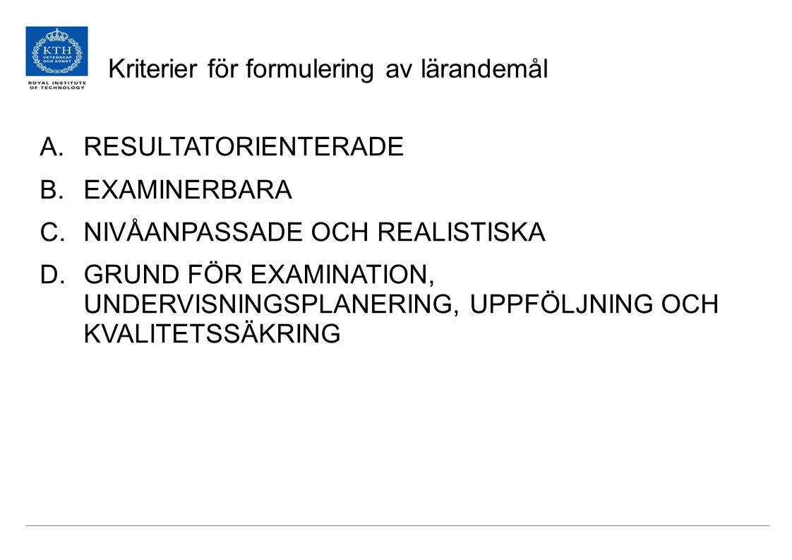 Kriterier för formulering av lärandemål A.RESULTATORIENTERADE B.EXAMINERBARA C.NIVÅANPASSADE OCH REALISTISKA D.GRUND FÖR EXAMINATION, UNDERVISNINGSPLANERING, UPPFÖLJNING OCH KVALITETSSÄKRING