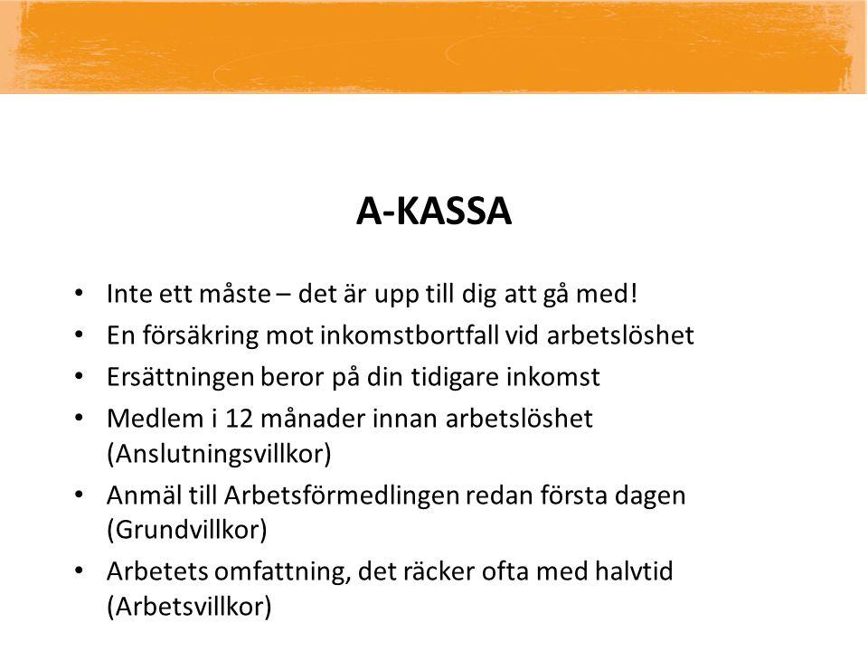 A-KASSA • Inte ett måste – det är upp till dig att gå med! • En försäkring mot inkomstbortfall vid arbetslöshet • Ersättningen beror på din tidigare i