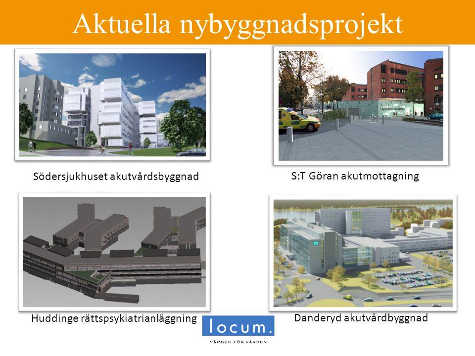 Aktuella nybyggnadsprojekt Danderyd akutvårdbyggnad Huddinge rättspsykiatrianläggning Södersjukhuset akutvårdsbyggnad S:T Göran akutmottagning