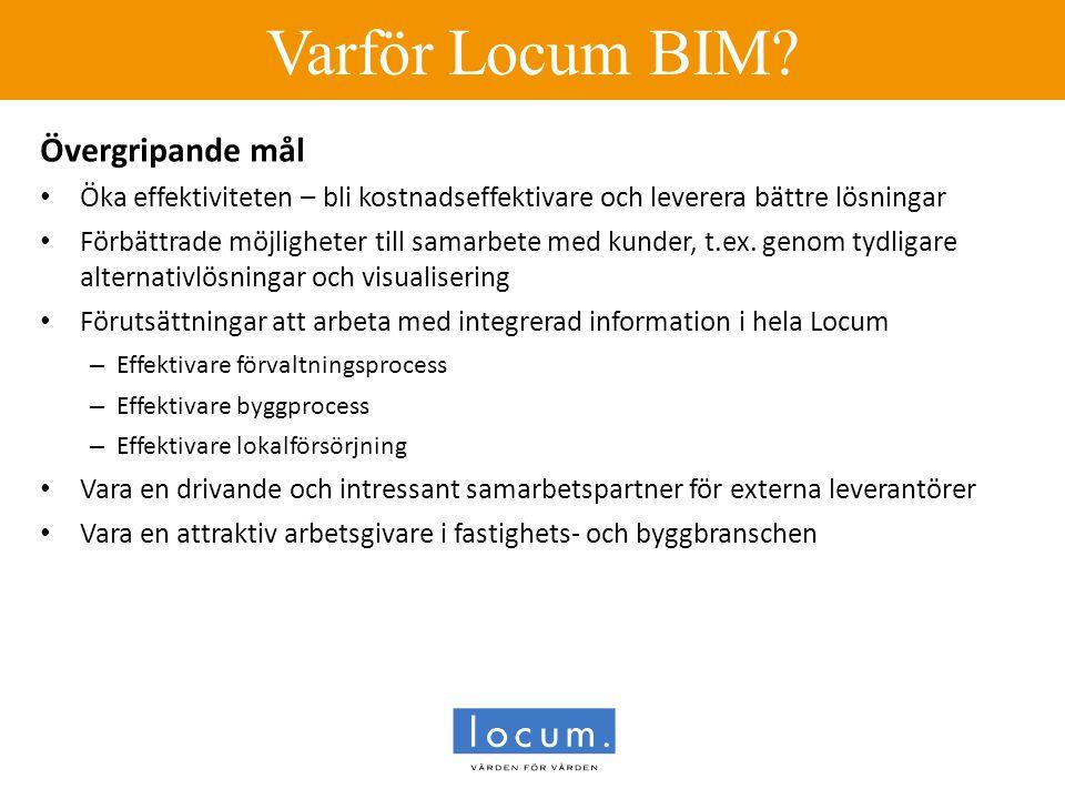 Varför Locum BIM? Övergripande mål • Öka effektiviteten – bli kostnadseffektivare och leverera bättre lösningar • Förbättrade möjligheter till samarbe